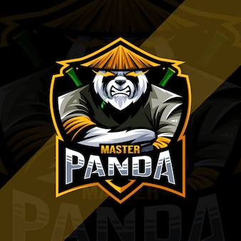 Modelo de design do logotipo do mascote mestre do panda