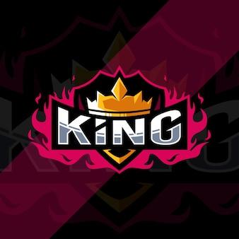 Modelo de design do logotipo do mascote rei da coroa