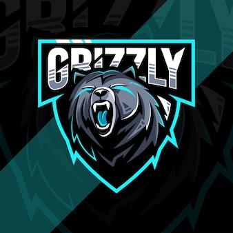 Modelo de design do logotipo do mascote urso com raiva