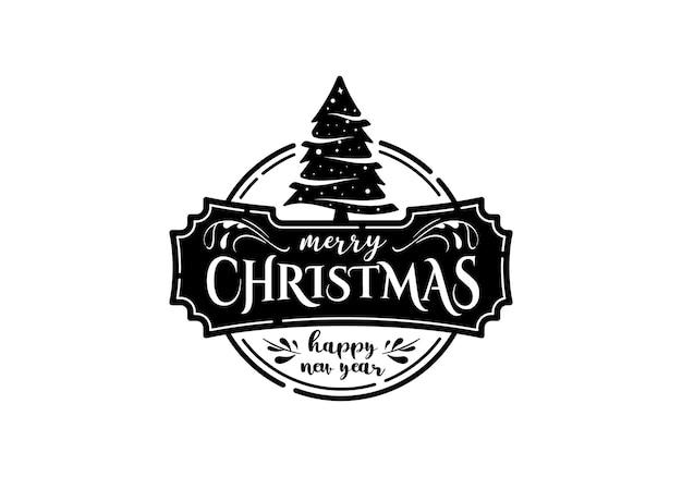 Modelo de design do logotipo do selo do logotipo do feliz natal vintage inspiração