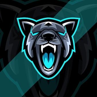 Modelo de design do logotipo esport do cão pitbull irritado mascote