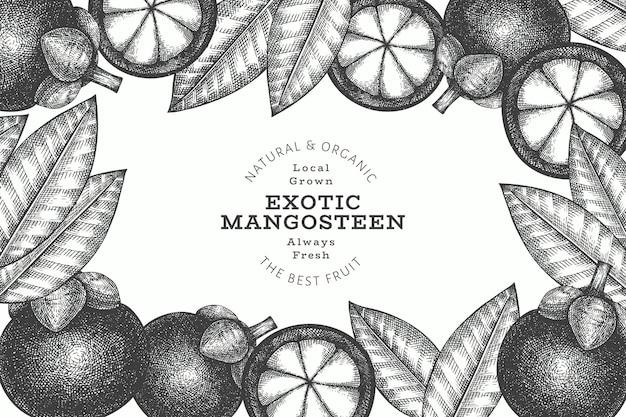 Modelo de design do mangostão do estilo esboço desenhado mão. ilustração de alimentos orgânicos frescos em fundo branco. fruta retrô.
