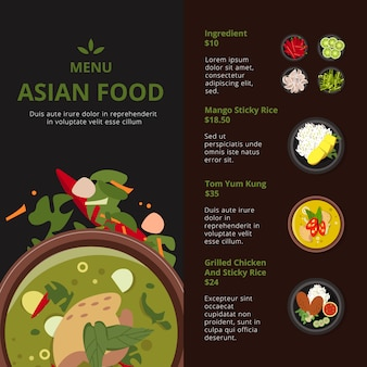 Modelo de design do menu de comida asiática