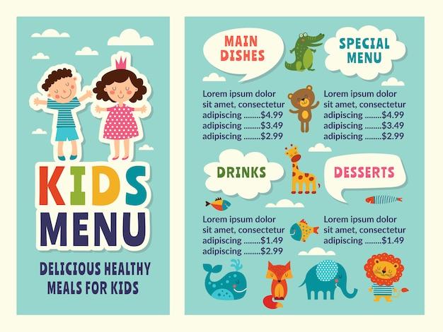 Modelo de design do menu de crianças com imagens engraçadas coloridas e lugar para o seu texto