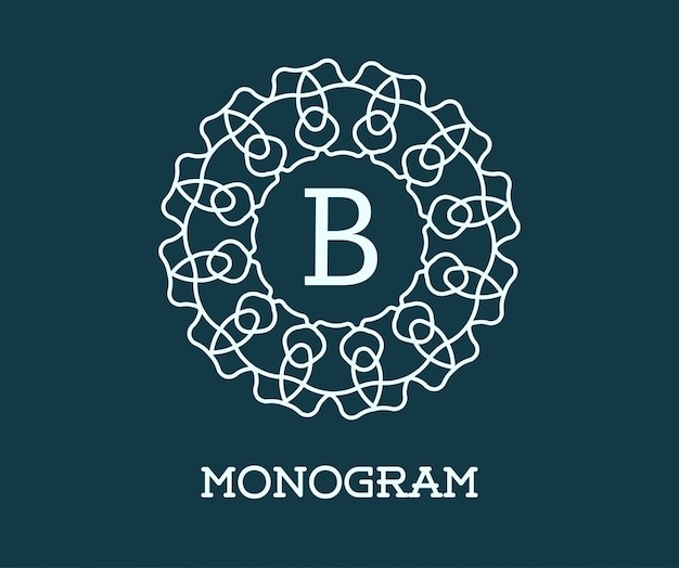 Modelo de design do monograma com ilustração de carta.