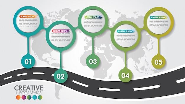 Modelo de design do negócio infográfico navegação mapa estrada com 5 etapas ou opções e 5 números