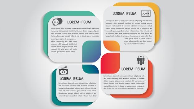 Modelo de design do negócio infográficos 4 etapas opções.