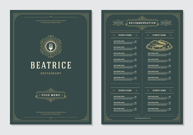Modelo de design do restaurante menu e rótulo vector brochura.