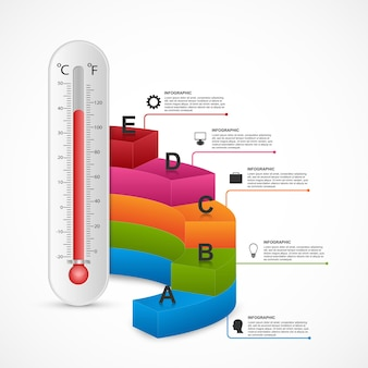 Modelo de design do termômetro de infografia.