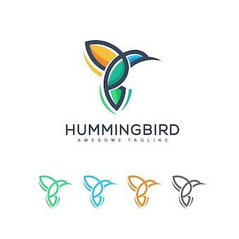 Modelo de design do vetor de ilustração de pássaro humming abstrata
