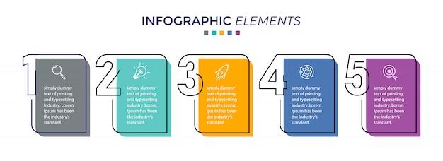 Modelo de design do vetor infográfico com 5 opções ou etapas