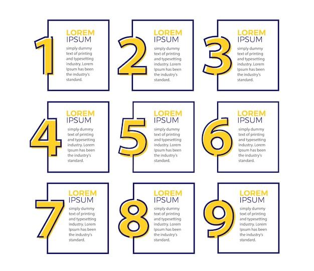 Modelo de design do vetor infográfico com 9 opções