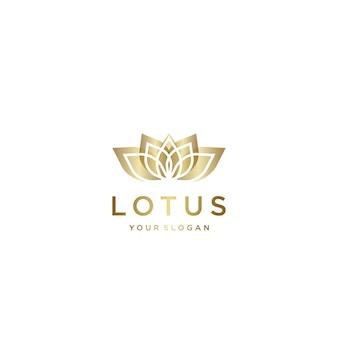 Modelo de design dourado lindo do logotipo lotus