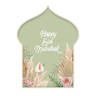 Modelo de design eid mubarak com arranjo floral seco de boho