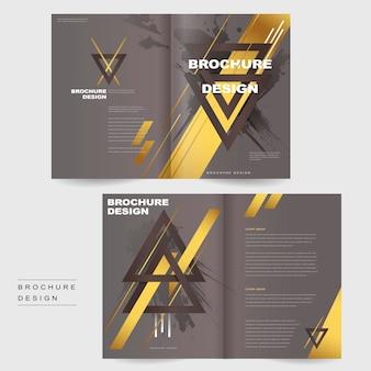 Modelo de design elegante de brochura com duas dobras com triângulos e elementos dourados