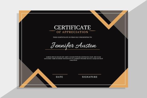 Modelo de design elegante de certificado