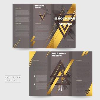 Modelo de design elegante de folheto de três dobras com triângulos e elementos dourados