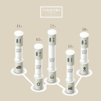 Modelo de design elegante de infográfico com elemento de gráfico de colunas
