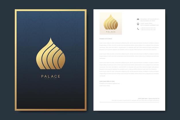 Modelo de design elegante de papel timbrado em estilo minimalista com logotipo.
