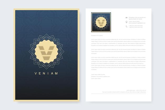 Modelo de design elegante de papel timbrado em estilo minimalista.
