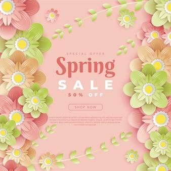 Modelo de design floral de banner de primavera com letra de tipografia