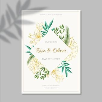 Modelo de design floral de cartão de casamento