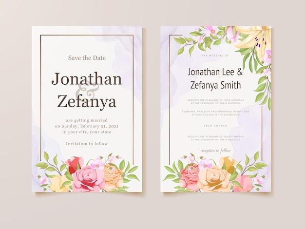 Modelo de design floral de cartão de convite de casamento