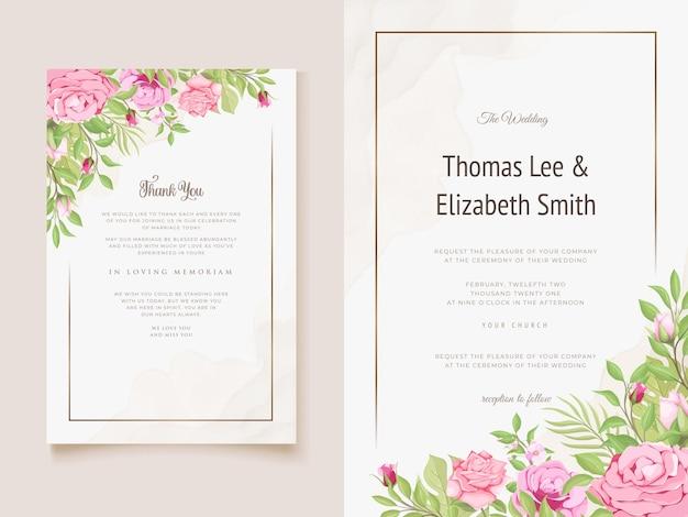 Modelo de design floral lindo para convite de casamento