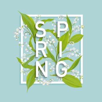 Modelo de design floral primavera para cartão, banner de venda, pôster, cartaz