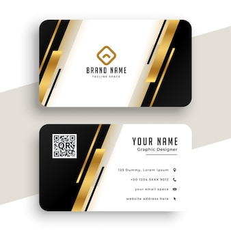 Modelo de design geométrico de cartão de visita dourado