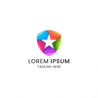 Modelo de design impressionante escudo colorido logotipo estrela ícone vetor premium