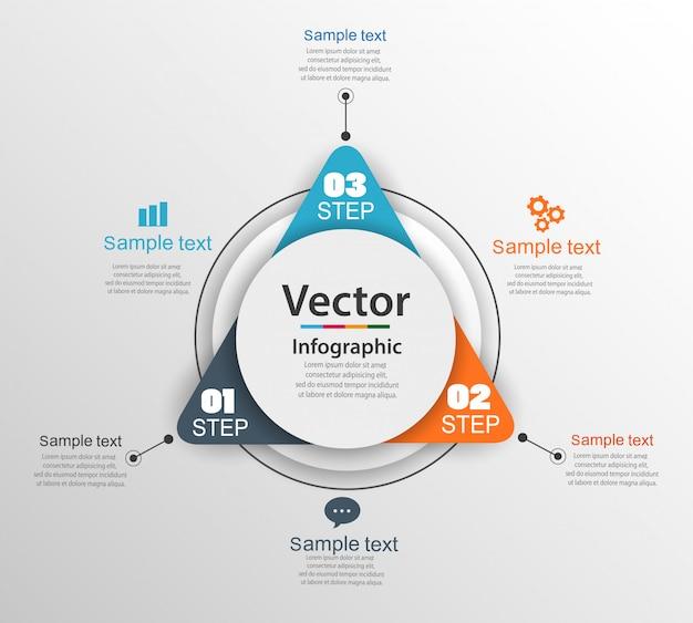 Modelo de design infográfico com 3 opções ou etapas