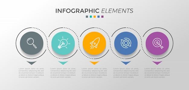 Modelo de design infográfico com 5 opções ou etapas