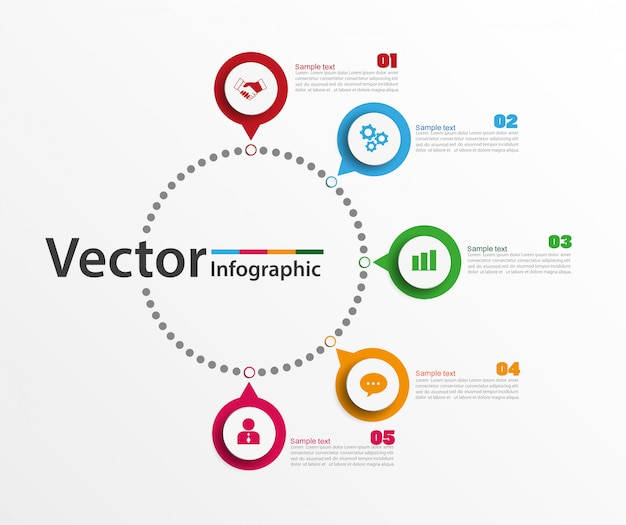 Modelo de design infográfico com 5 opções