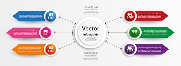 Modelo de design infográfico com 6 opções, partes, etapas ou processos