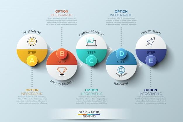 Modelo de design infográfico com elementos circulares