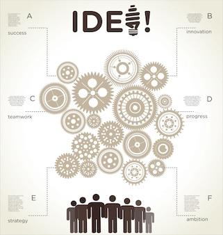 Modelo de design infográfico com engrenagens