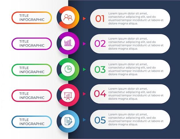 Modelo de design infográfico com etapas de 5 opções