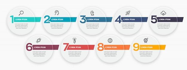 Modelo de design infográfico com icnos e 9 opções ou etapas.