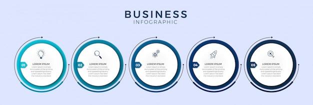 Modelo de design infográfico com ícones e 5 opções