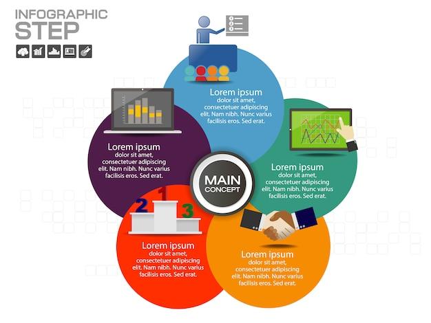 Modelo de design infográfico com ícones e opções