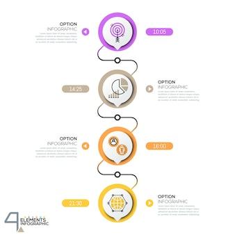 Modelo de design infográfico, diagrama com elementos circulares conectados sucessivamente por linhas