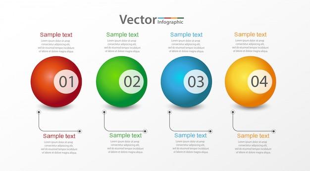Modelo de design infográfico ilustração com 4 opções ou etapas