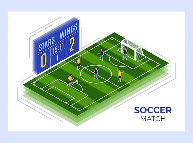 Modelo de design isométrico de partida de futebol