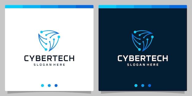 Modelo de design logotipo tecnologia cibernética ou modelo de logotipo abstrato de placa de circuito de tecnologia futurista.