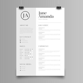 Modelo de design minimalista cv