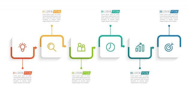 Modelo de design mínimo infográfico com números 6 opções ou etapas.
