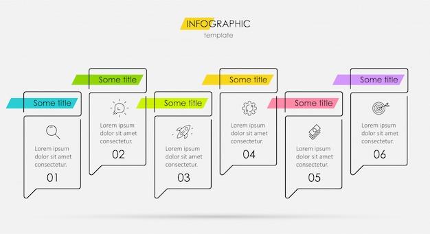Modelo de design mínimo infográfico linha fina com ícones e 6 opções ou etapas.