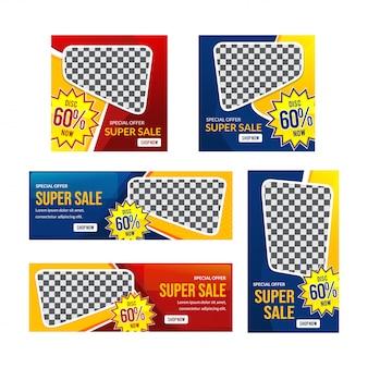 Modelo de design moderno banner super vermelho e azul venda
