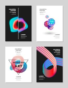 Modelo de design moderno capa abstrata holograma fluido formas composição